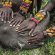 A group of young Samburu warriors touch a black rhino for the first time in their lives, at the Lewa Wildlife Conservancy, in northern Kenya. (Ami Vitale, Nature, 2nd prize singles)